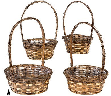 19/8375 S/4 ROUND RUSTIC VINE BASKETS W/LINERS CS. PK.: 24