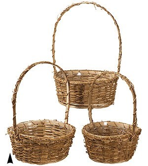 19/9457 S/3 ROUND RUSTIC VINE BASKETS W/LINERS CS. PK.:24