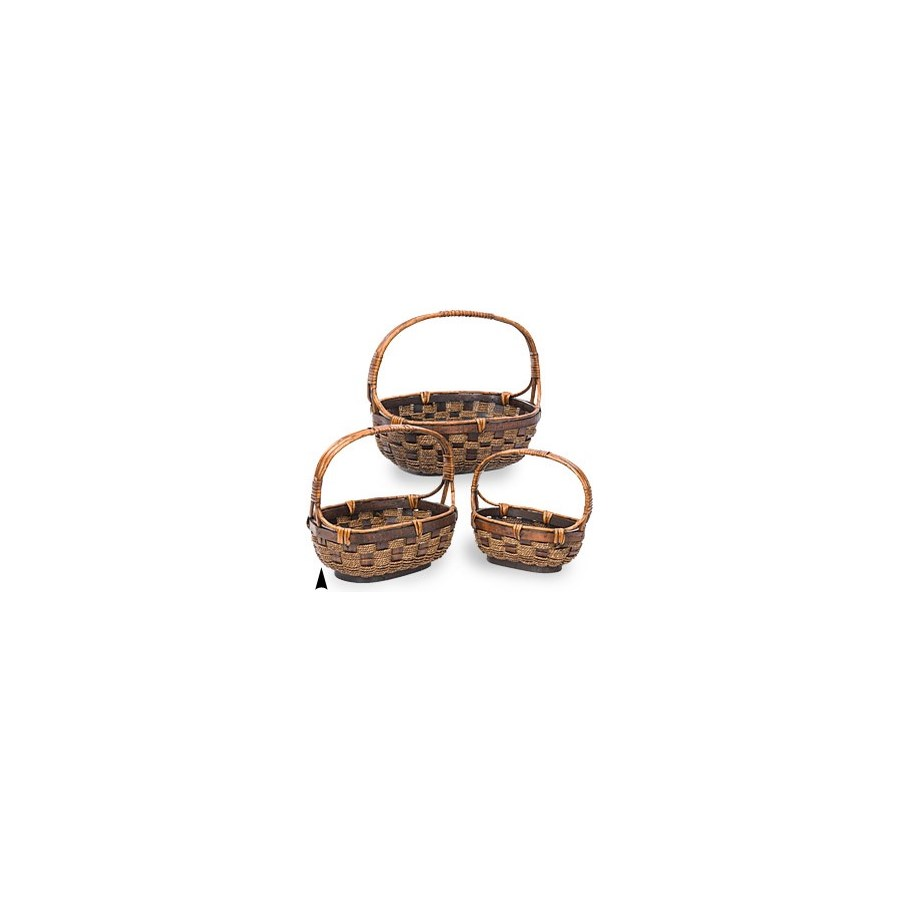29/0999 S/3 OVAL WILLOW & SEAGRASS BASKETS CS PK.: 8