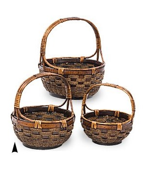 29/1000 S/3 ROUND WILLOW & SEAGRASS BASKETS CS. PK.: 8