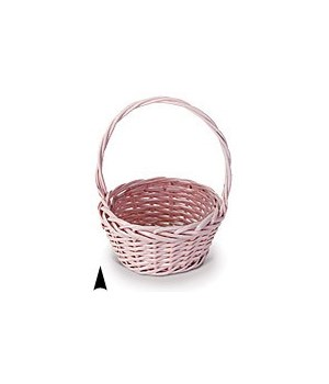 """29/103/8P PINK 8"""" ROUND WILLOW BASKET W/LINER CS. PK.: 36"""
