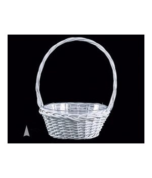"29/103/8W WHITE 8"" ROUND WILLOW BASKET W/LINER CS. PK.: 36"