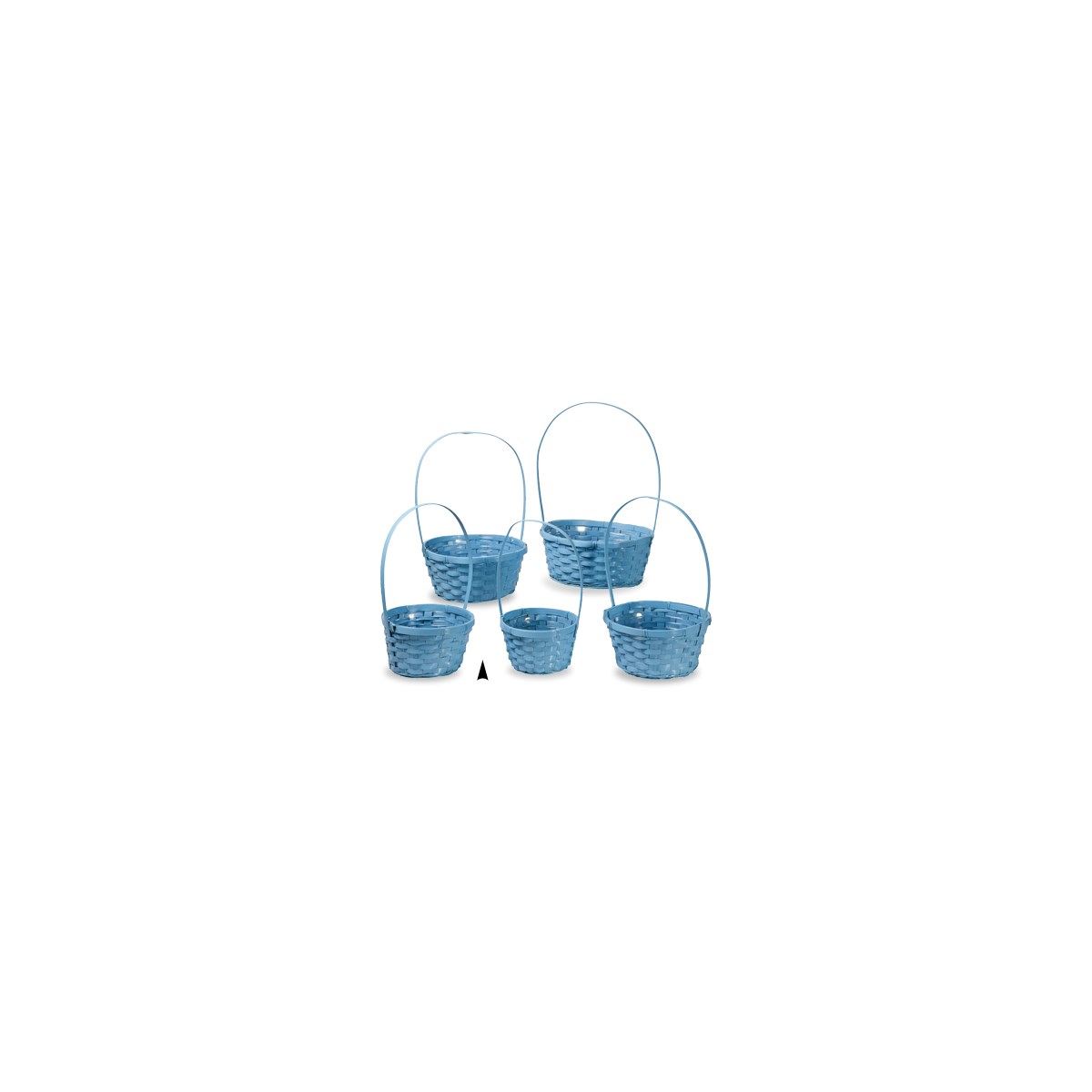 29/11090/B S/5 BLUE ROUND BAMBOO BASKETS W/LINERS CS. PK.: 20
