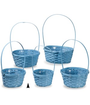 29/11090/B S/5 BLUE ROUND BAMBOO BASKETS W/LINERS CS. PK.: 20