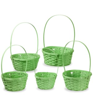 29/11090/G S/5 GREEN ROUND BAMBOO BASKETS W/LINERS CS. PK.: 20