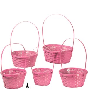 29/11090/P S/5 PINK ROUND BAMBOO BASKETS W/LINERS CS. PK.: 20