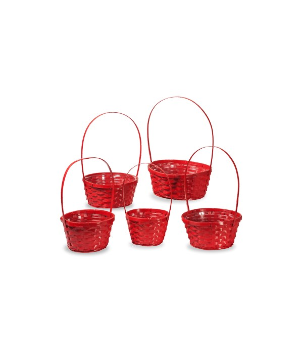 29/11090/R S/5 RED ROUND BAMBOO BASKETS W/LINERS CS. PK.: 20