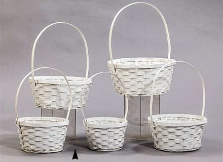 29/11090/W S/5 WHITE ROUND BAMBOO BASKETS W/LINERS CS. PK.: 20