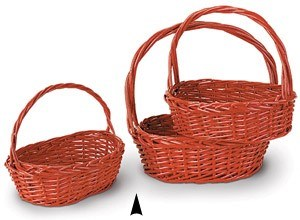 29/1344AR S/3 RED OVAL WILLOW BASKETS CS. PK.: 12