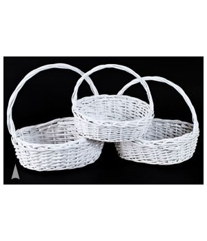 29/1344AW S/3 WHITE OVAL WILLOW BASKETS CS. PK.: 12