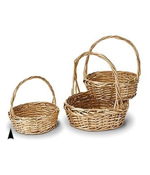 29/1345-14 S/3 GOLD ROUND WILLOW BASKETS CS. PK.: 12