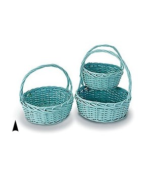 S/3 LIGHT BLUE ROUND WILLOW BASKETS CS. PK. 12