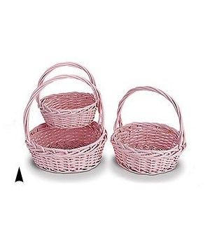 S/3 PINK ROUND WILLOW BASKETS CS. PK. 12