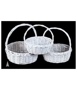 S/3 WHITE ROUND WILLOW BASKETS CS. PK. 12