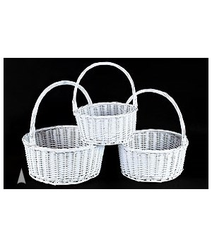 29/153W S/3 WHITE ROUND WILLOW BASKETS CS. PK.: 6