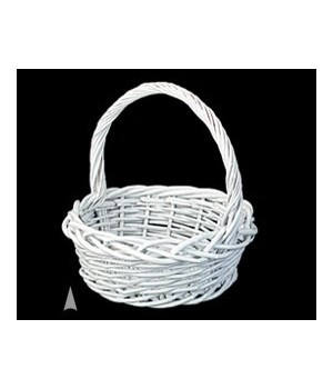 """29/218W WHITE 12.5"""" ROUND WILLOW BASKET CS. PK.: 24"""