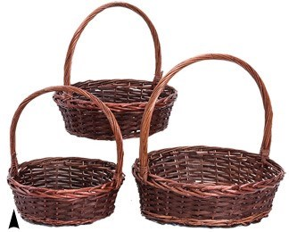 29/2471 S/3 ROUND STAINED WILLOW & WOOD BASKETS CS. PK.:4