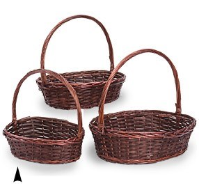 29/2474 S/3 OVAL STAINED WILLOW & WOOD BASKETS CS. PK.: 4