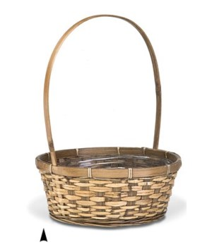 "29/2679B 12"" ROUND STAINED BASKET W/LINER CS. PK.: 48"