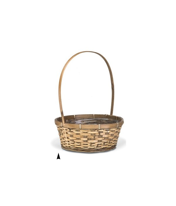 """29/2679B 12"""" ROUND STAINED BASKET W/LINER CS. PK.: 48"""