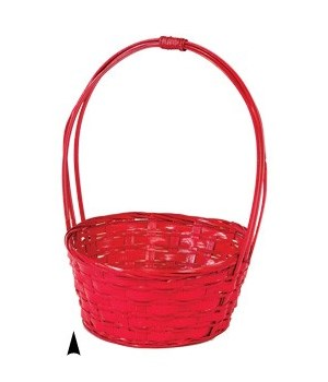 29/31033R RED BAMBOO BASKET W/LINER CS. PK.: 60
