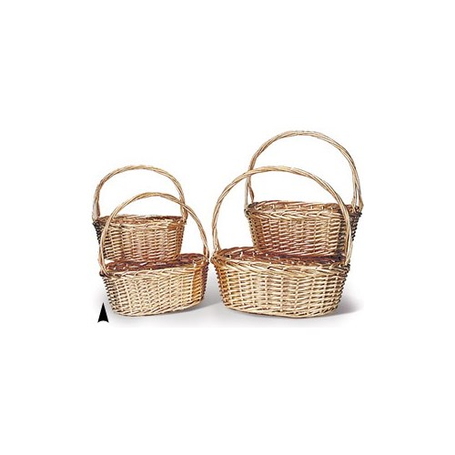 29/3444-14 S/4 GOLD OVAL WILLOW BASKETS CS. PK.: 8