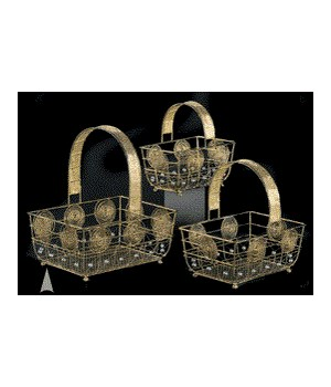 29/390 S/3 FANCY WIRE BASKETS W/BEADS CS. PK.: 12
