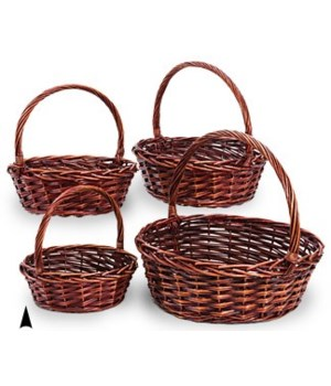 29/4046RA S/4 ROUND STAINED WILLOW BASKETS CS. PK.: 4