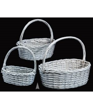 29/4136W S/3 WHITE OVAL WILLOW BASKETS CS. PK.: 8