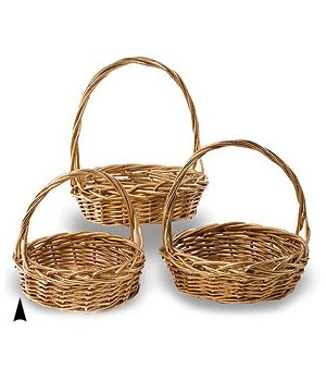 29/91192G S/3 GOLD ROUND WILLOW BASKETS CS. PK.: 8