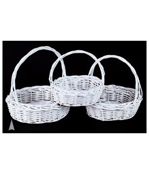 29/91192W S/3 WHITE ROUND WILLOW BASKETS CS. PK.: 8