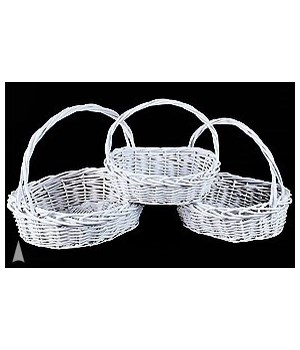 29/91195W S/3 WHITE OVAL WILLOW BASKETS CS. PK.: 8