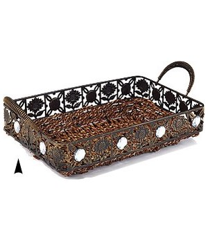 3/1057 OBLONG SEAGRASS TRAY W/BEADS CS. PK.: 24