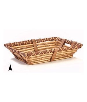 3/108019 OBLONG WILLOW AND ROPE TRAY CS. PK.: 20