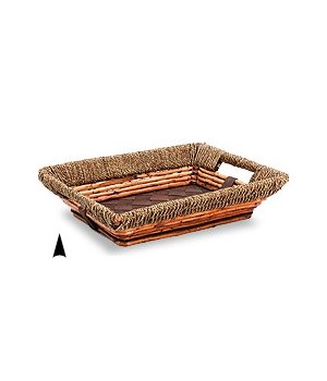 3/11-32 OBLONG FANCY WILLOW & SEAGRASS TRAY CS. PK.: 20