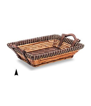 3/11-35 OBLONG FANCY WILLOW & TWINE TRAY CS. PK.:20