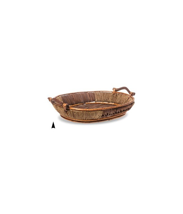 3/13-05 OVAL WILLOW & SEAGRASS TRAY W/WOOD DESIGN CS. PK.: 20