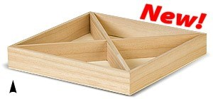 3/143/10X SQUARE WOOD TRAY W/4 SECTIONS CS. PK.: