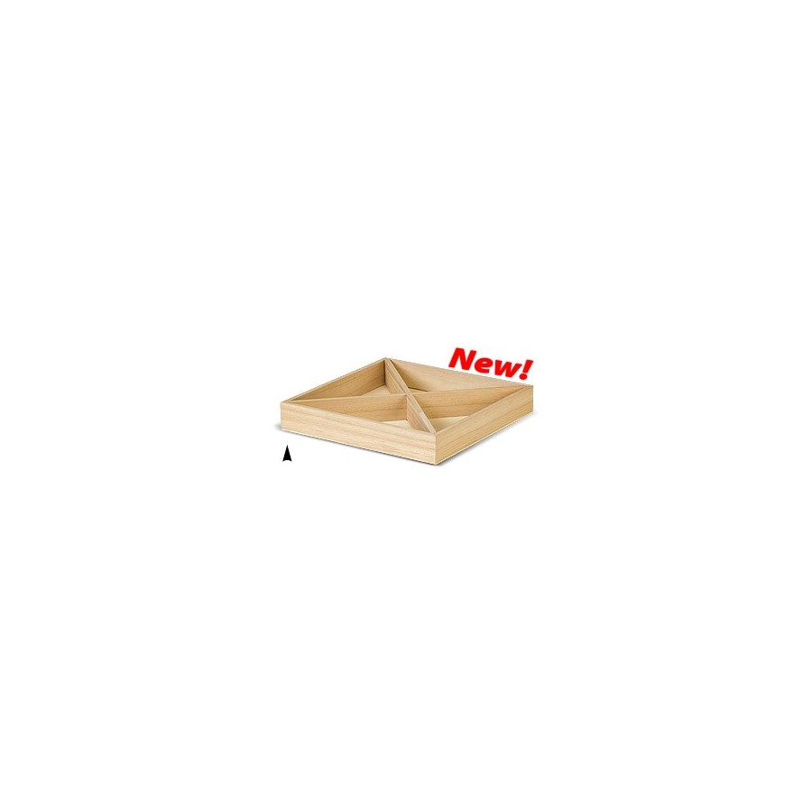 3/143/12X SQUARE WOOD TRAY W/4 SECTIONS CS. PK.: