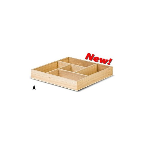 3/144/8X SQUARE WOOD TRAY W/5 SECTIONS CS. PK.: