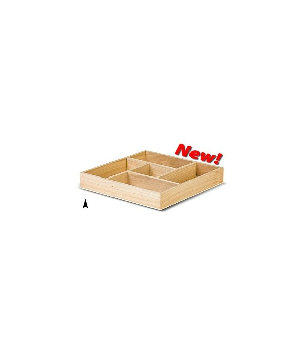 3/144/10X SQUARE WOOD TRAY W/5 SECTIONS CS. PK.: