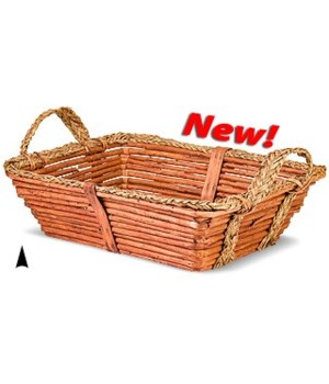 3/1519 OBLONG WILLOW TRAY W/ ROPE RIM CS. PK.: 20