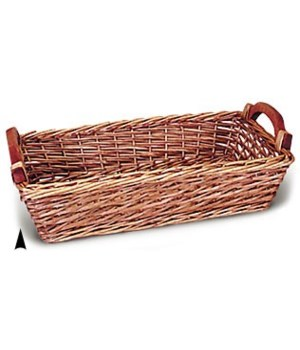 3/20526 OBLONG WILLOW TRAY W/WOOD HANDLES CS. PK.: 20