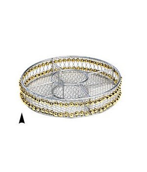 3/242/8B ROUND METAL DIVIDED TRAY W/BEADS CS. PK.: 60
