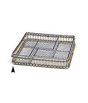 3/244/10B SQUARE METAL DIVIDED TRAY W/BEADS CS. PK.: 40