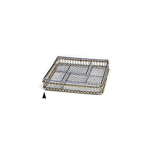 3/244/8B SQUARE METAL DIVIDED TRAY W/BEADS CS. PK.: 60