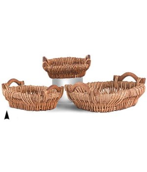 3/254 S/3 OVAL MAIZE AND WILLOW TRAYS CS. PK.: 8