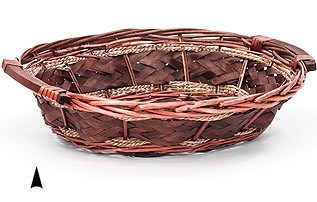 3/2556  LARGE CHIP WOOD OVAL BASKET W/ WOOD HANDLES LIGHT STAIN CS. PK.: 25