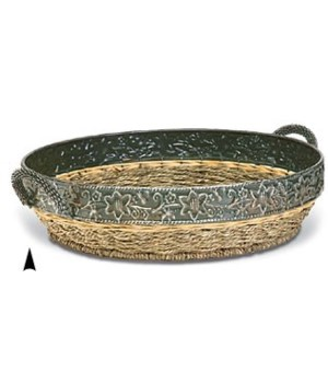 "3/4990 14.5"" ROUND SEAGRASS TRAY WITH METAL RIM CS. PK.: 20"