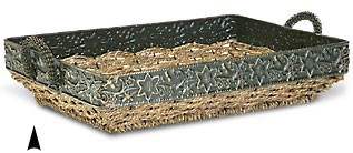 3/5027 OBLONG SEAGRASS TRAY WITH METAL RIM CS. PK.: 20